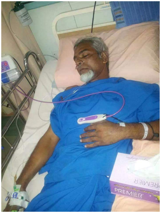 DR GANJA DURING HIS TIME IN HOSPITAL. PHOTO SUPPLIED