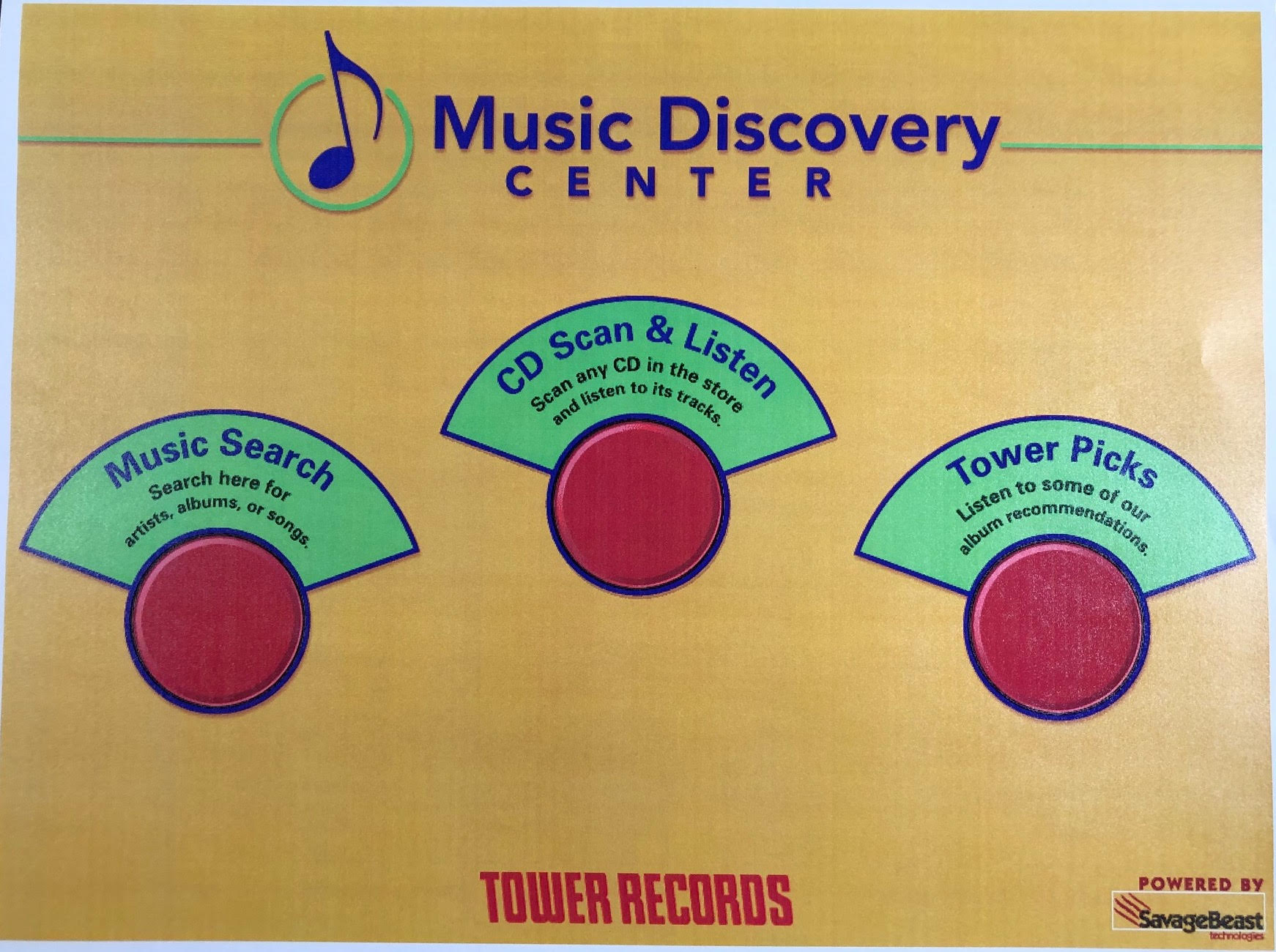 A mockup of an interface for music listening at Tower records.