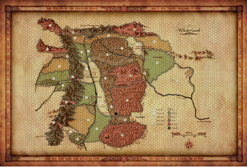 A hex-map of Middle-Earth that abstracts route planning for a Fellowship-style journey.