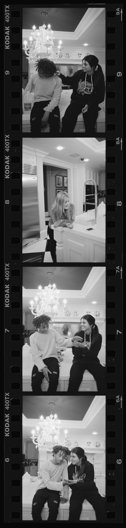 A film strip of photos of Jaden Smith and Kendall Jenner sitting in a kitchen.