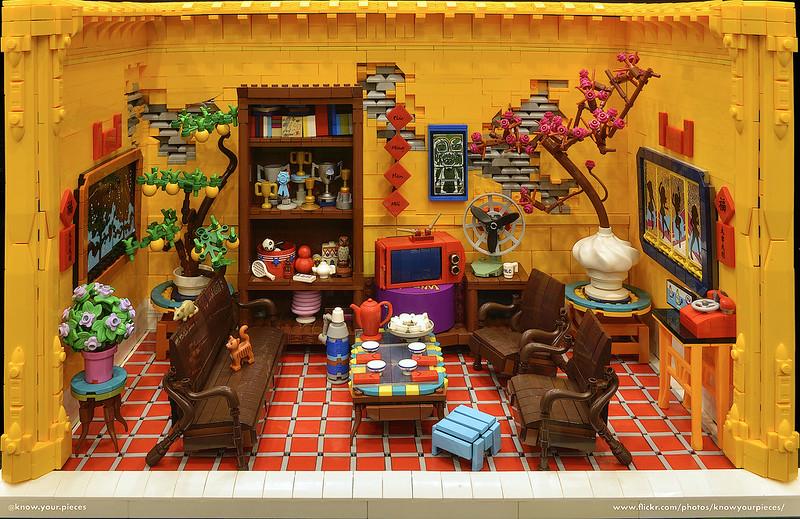 Miniatur ruang tamu dalam suasana festival musim semi Tết