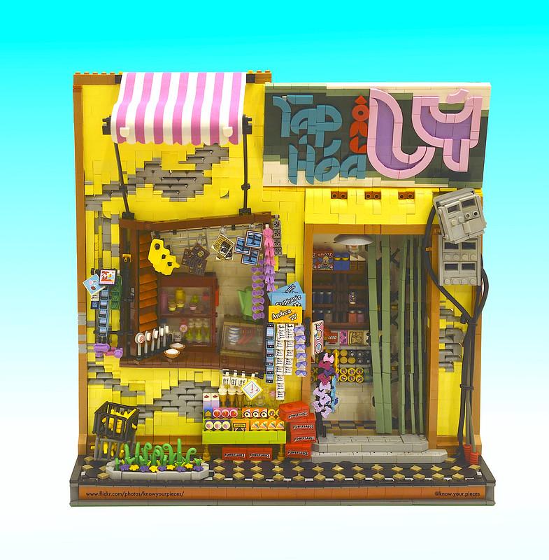 Susunan toko kelontong beserta barang dagangan LEGO
