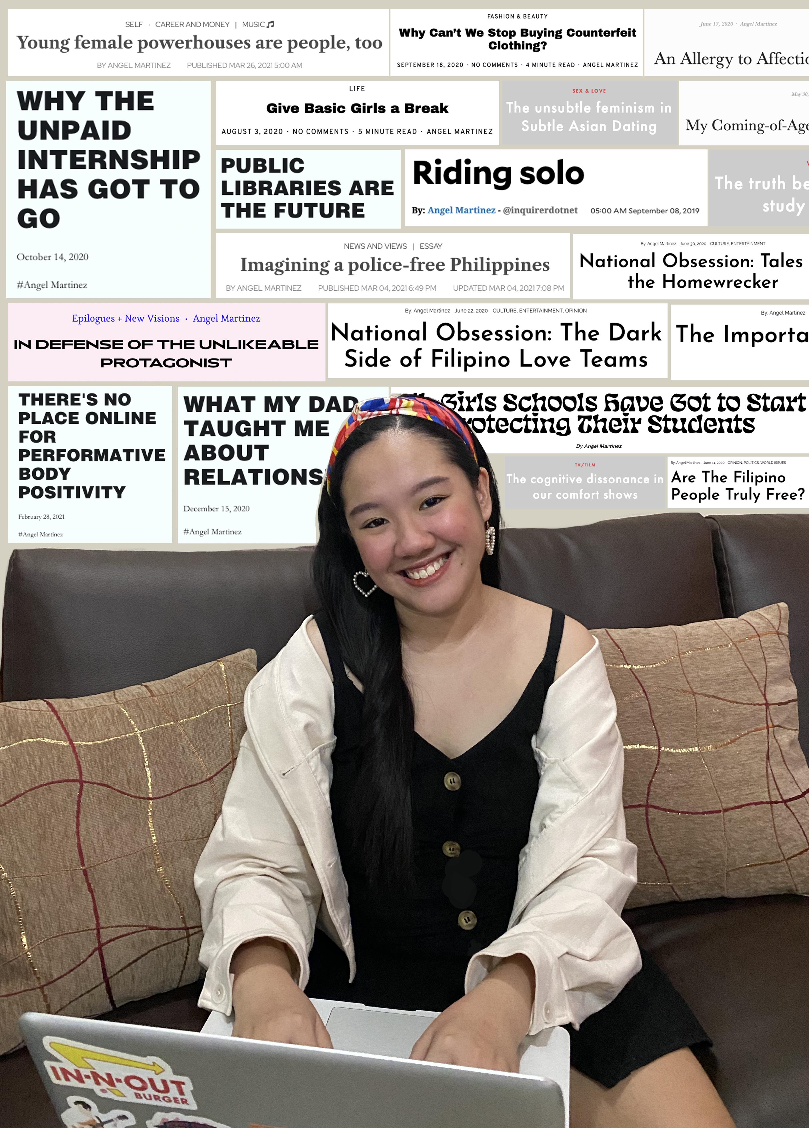 Penulis dikelilingi judul-judul artikelnya yang sudah terbit.