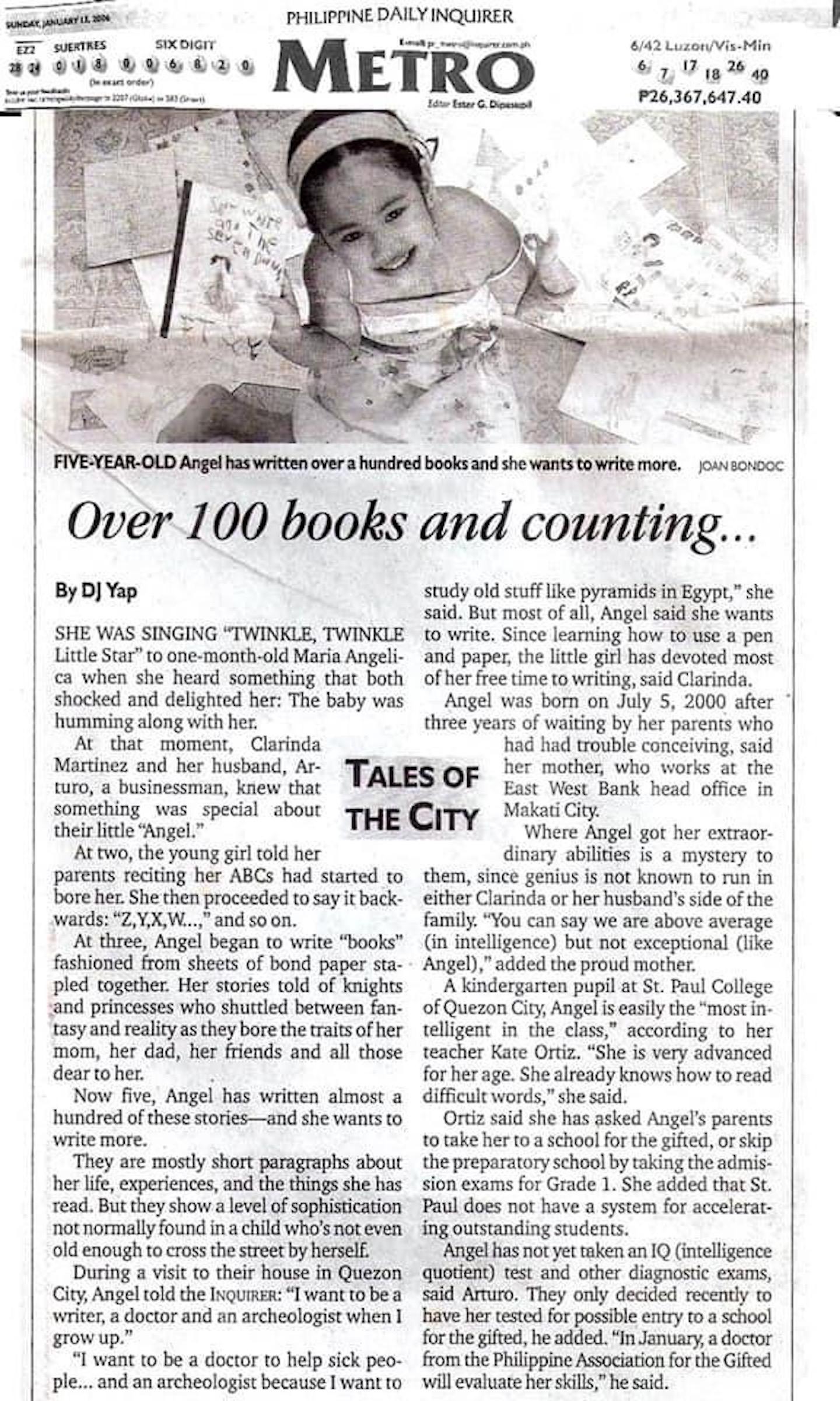 Berita koran tentang kecerdasan penulis