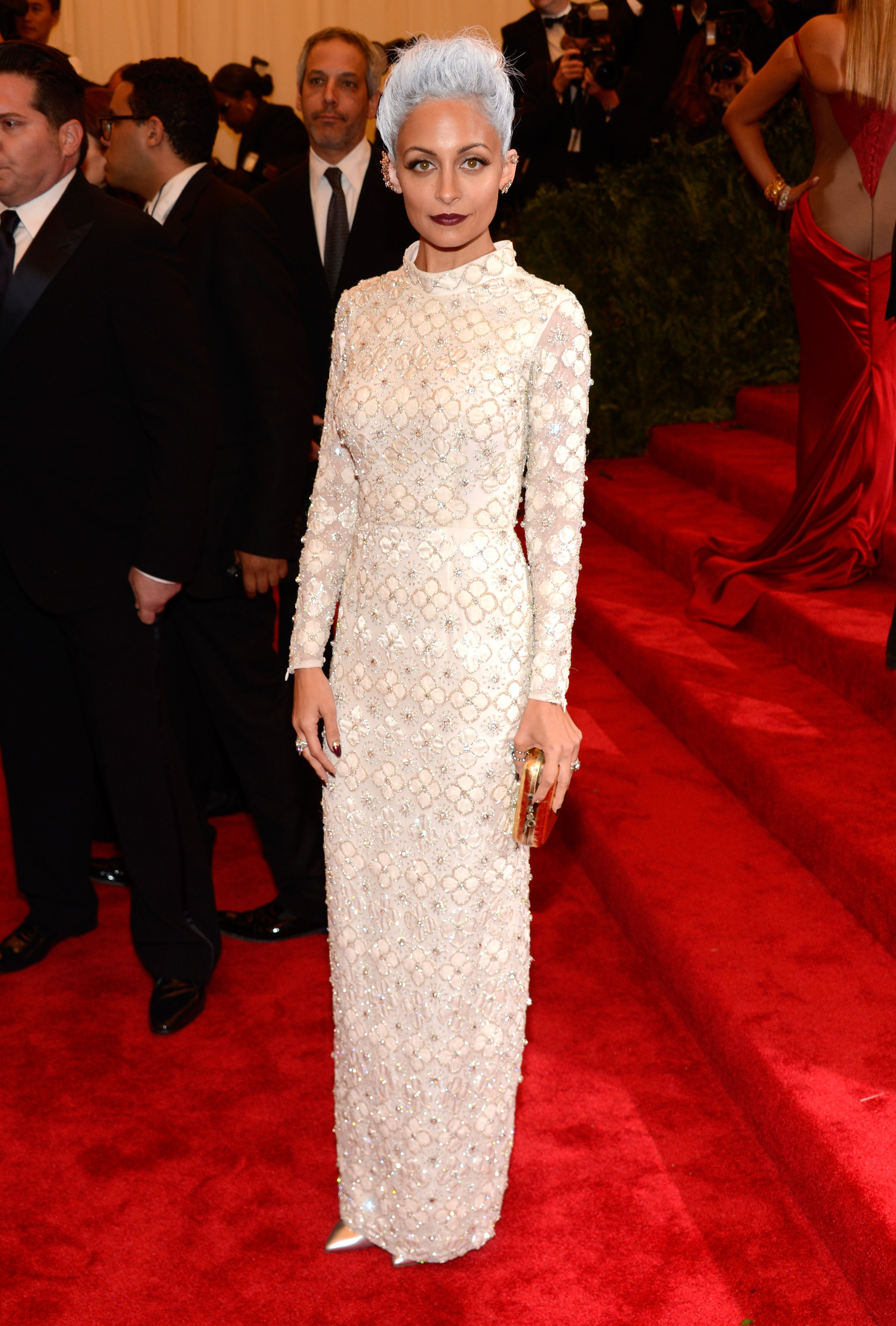 Nicole Richie wearing custom Topshop attends the Costume Institute Gala for the