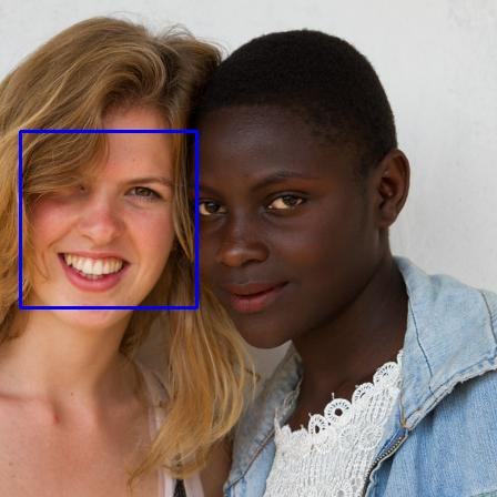 Two women standing next to each other smiling. The woman on the left, who is white has a blue box imposed around her face, while the Black woman on the right does not.