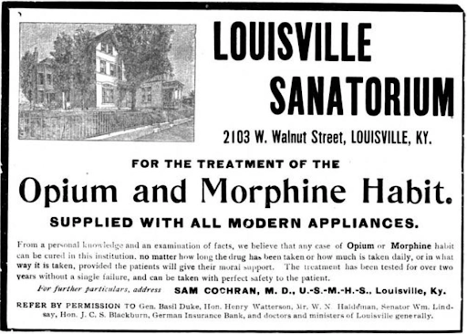 Advertisement for a Civil War-era drug rehab in Louisville, Kentucky.