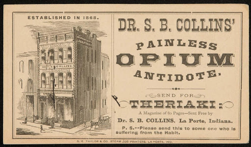 "Postcard advertising a popular Civil War-era addiction ""cure."" Courtesy of Boston Museum of Fine Arts."