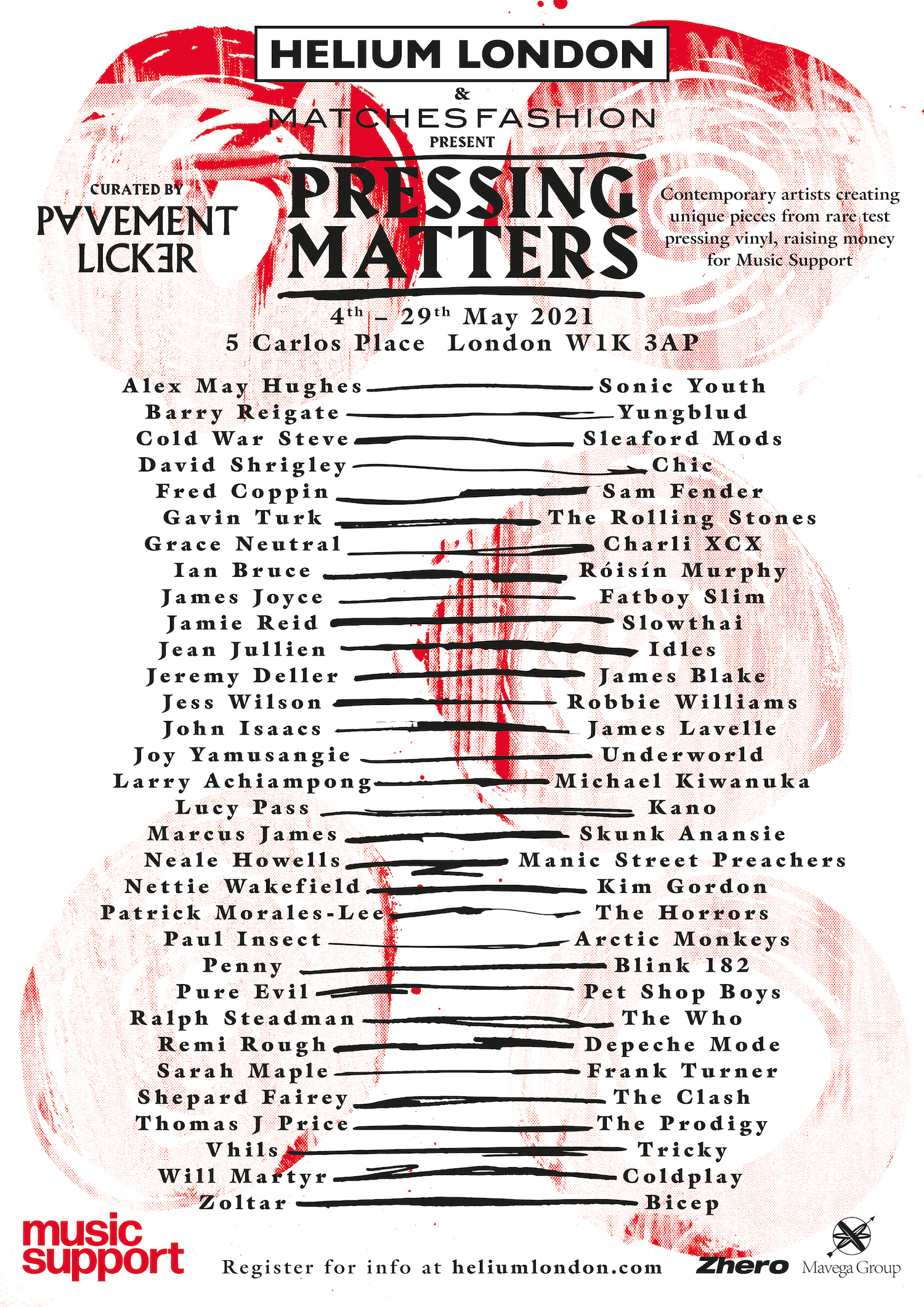 Poster for Pressing Matters charity exhibition at Matches