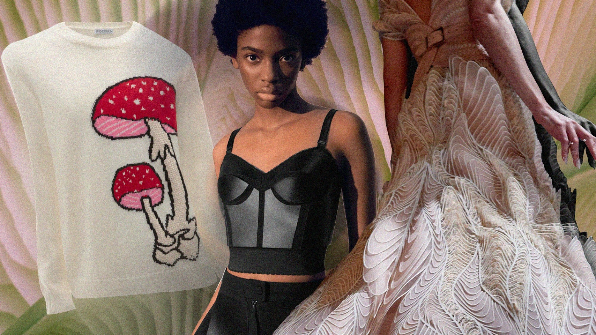 A collage featuring a JW Anderson mushroom jumper, a mushroom leather Stella McCartney bustier and an Iris van Herpen gown