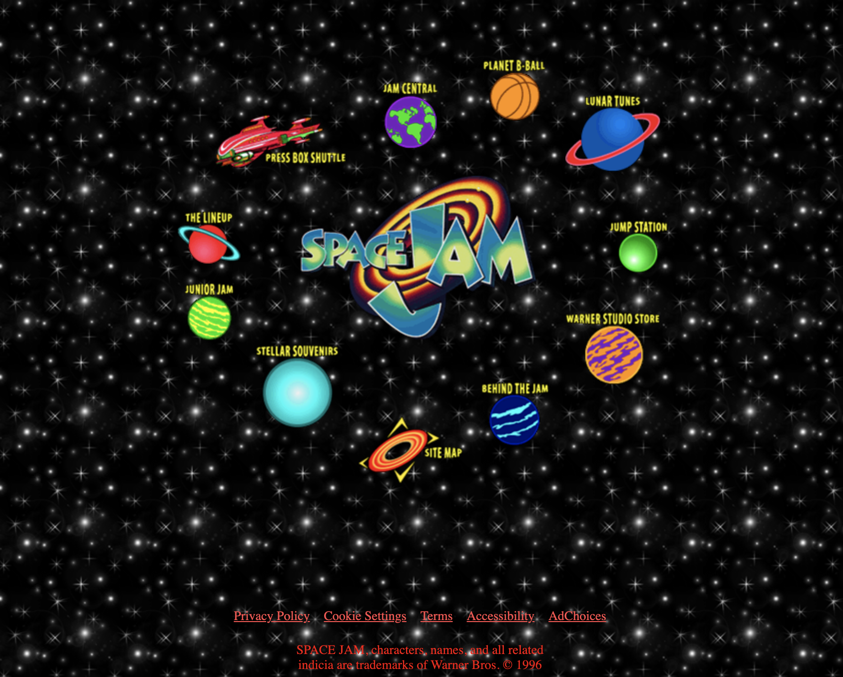 The Space Jam website from 1996, with a black star background and planets