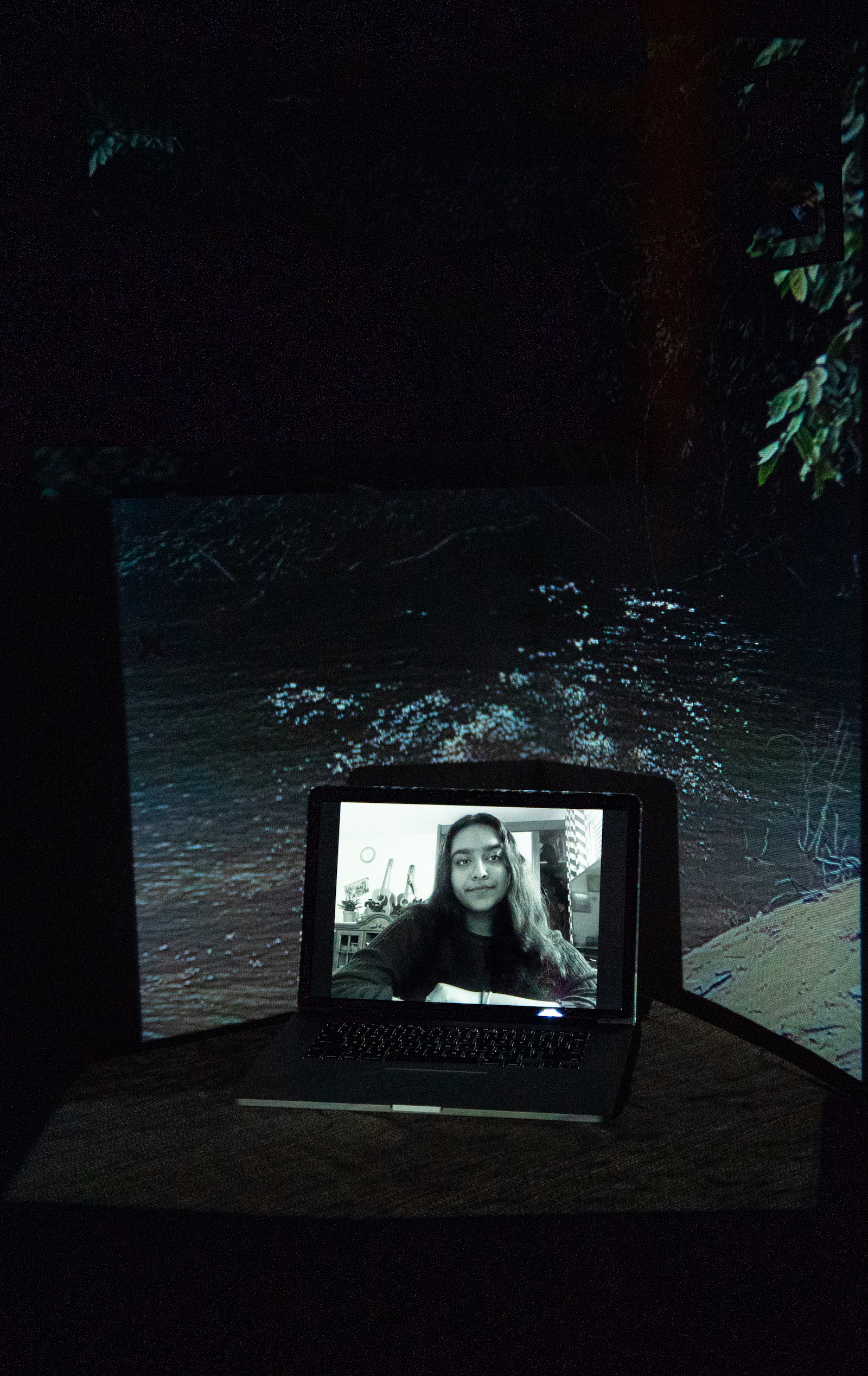 Theresa Rose Sebastian, Re-Earth Initiative Co-Founder. Projected Image: Agua Limpia, Lacandon Jungle, Mexico, December 2020.