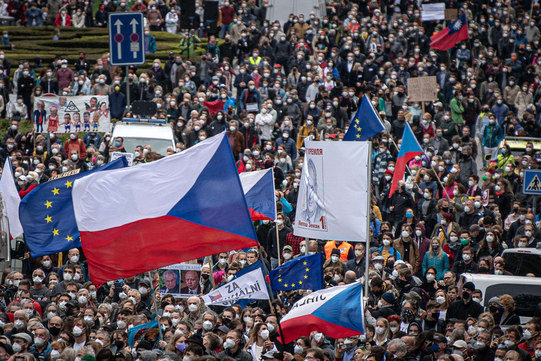 Protests in Prague following the Czech president's comments. Photo: Lukas Kabon/Anadolu Agency via Getty Images