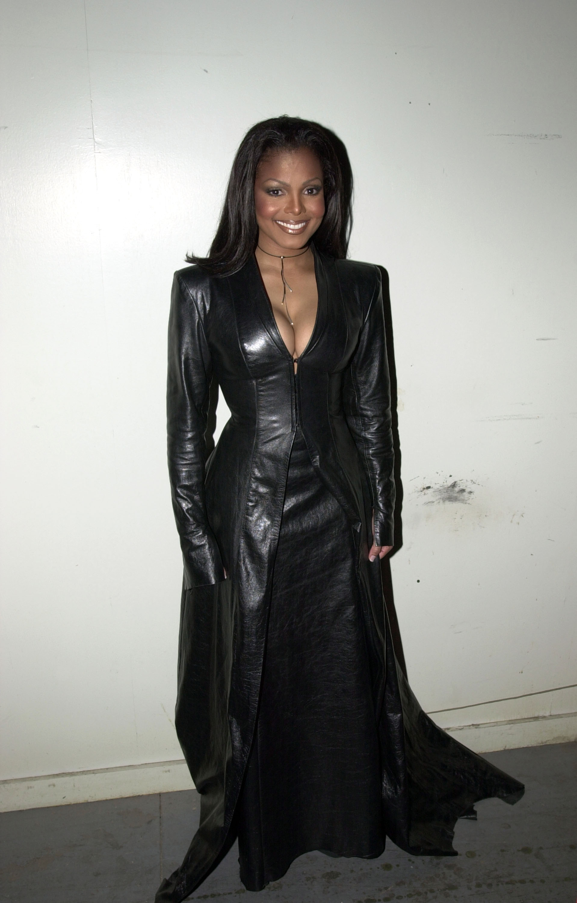 janet jackson wearing an all leather matrix inspired outfit
