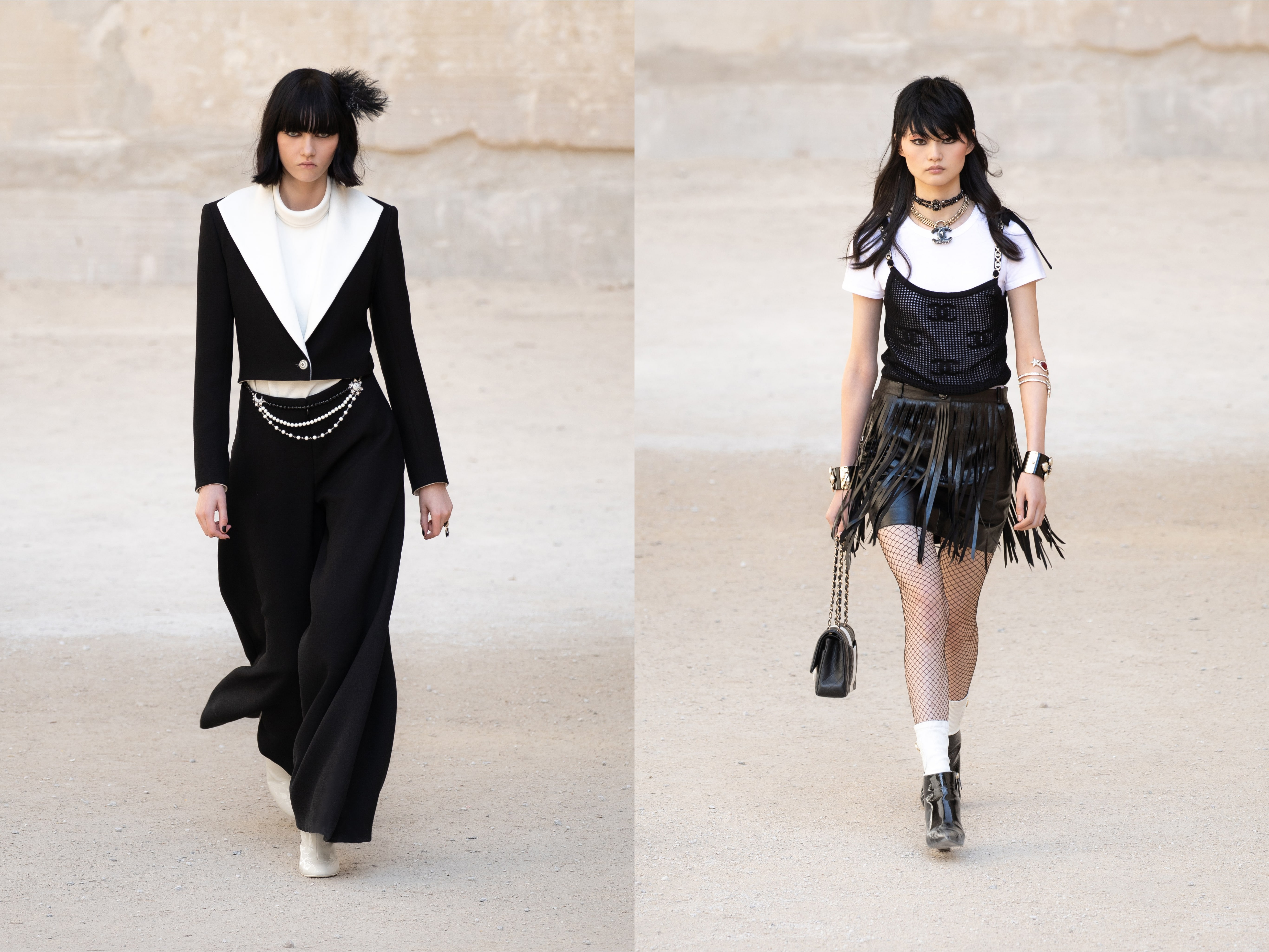two models walk the runway in black and white punk-inspired Chanel cruise looks