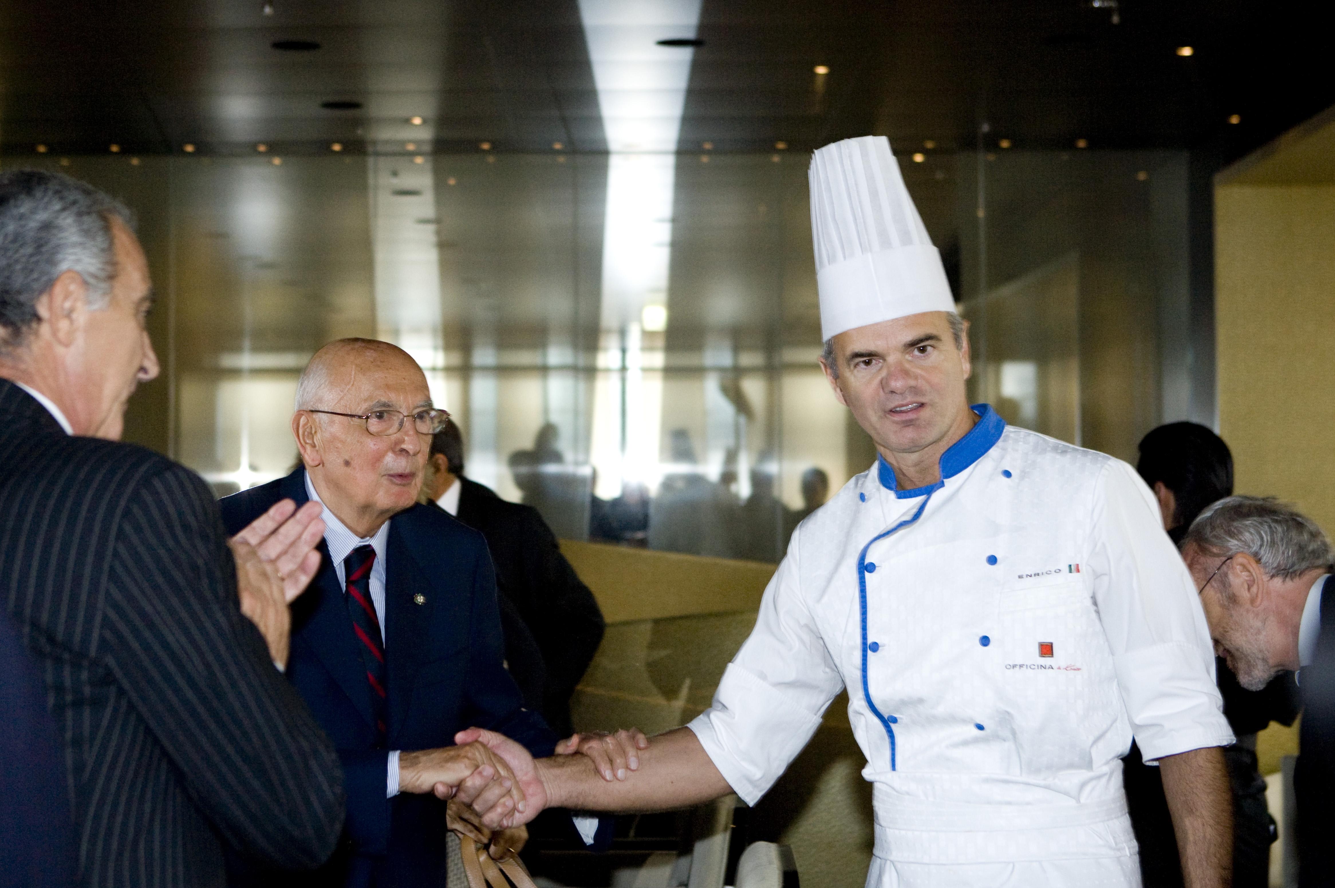 Koki Derflingher bersama mantan presiden Italia Giorgio Napolitano.