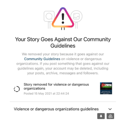 """Instagram removed a story with a Palestinian, Iranian, and Turkish flag """"for violence or dangerous organizations."""" Instagram screenshot"""
