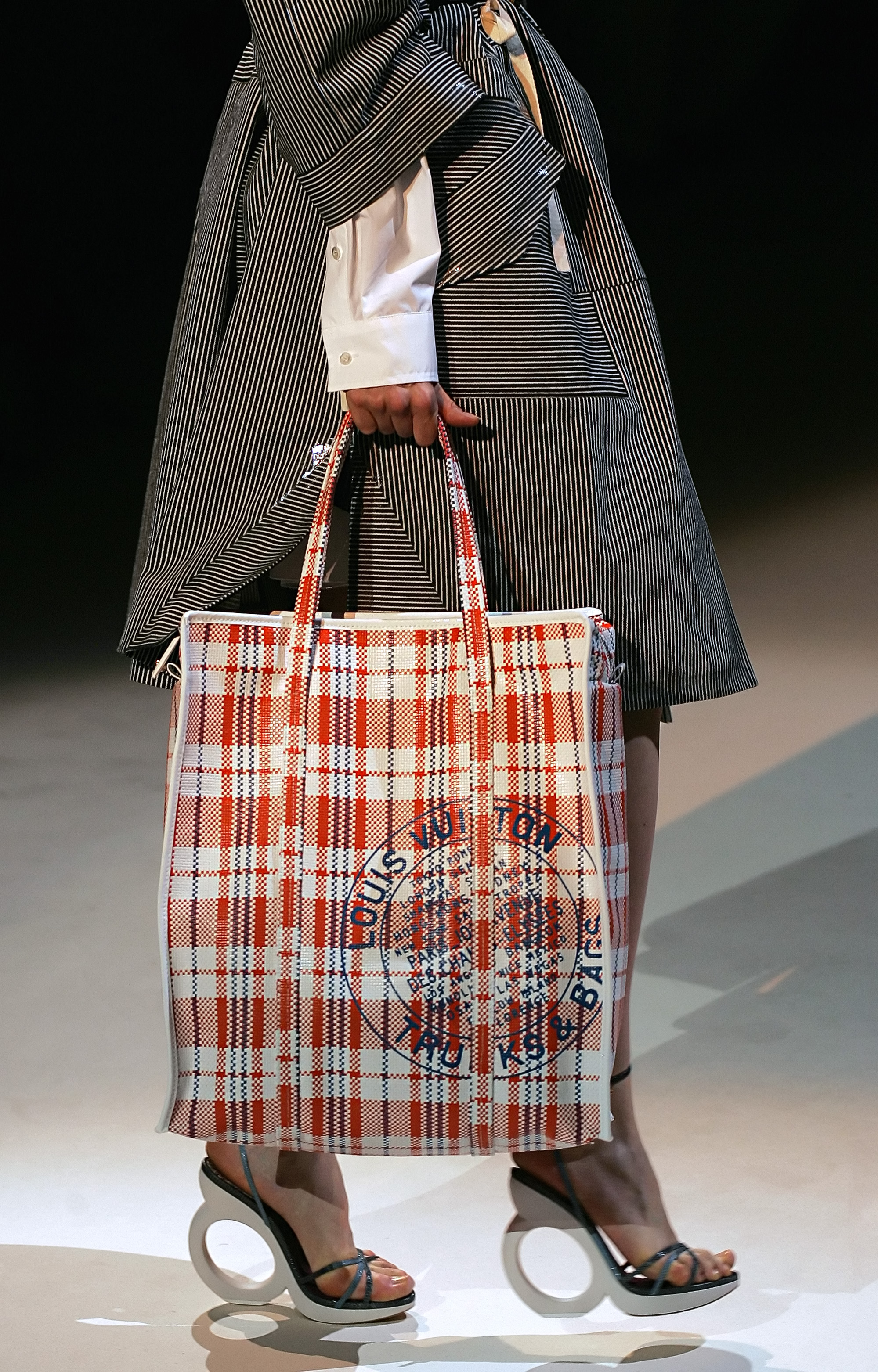 Louis Vuitton Hong Kong red-white-blue nylon canvas bag for Spring/Summer 2007 collection.