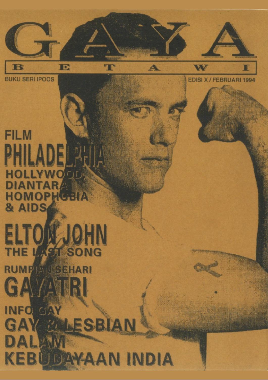 """Sampul majalah Gaya Betawi pada 1994 yang membicarakan film Tom Hanks """"Philadelphia"""". Foto oleh Queer Indonesia Archive"""