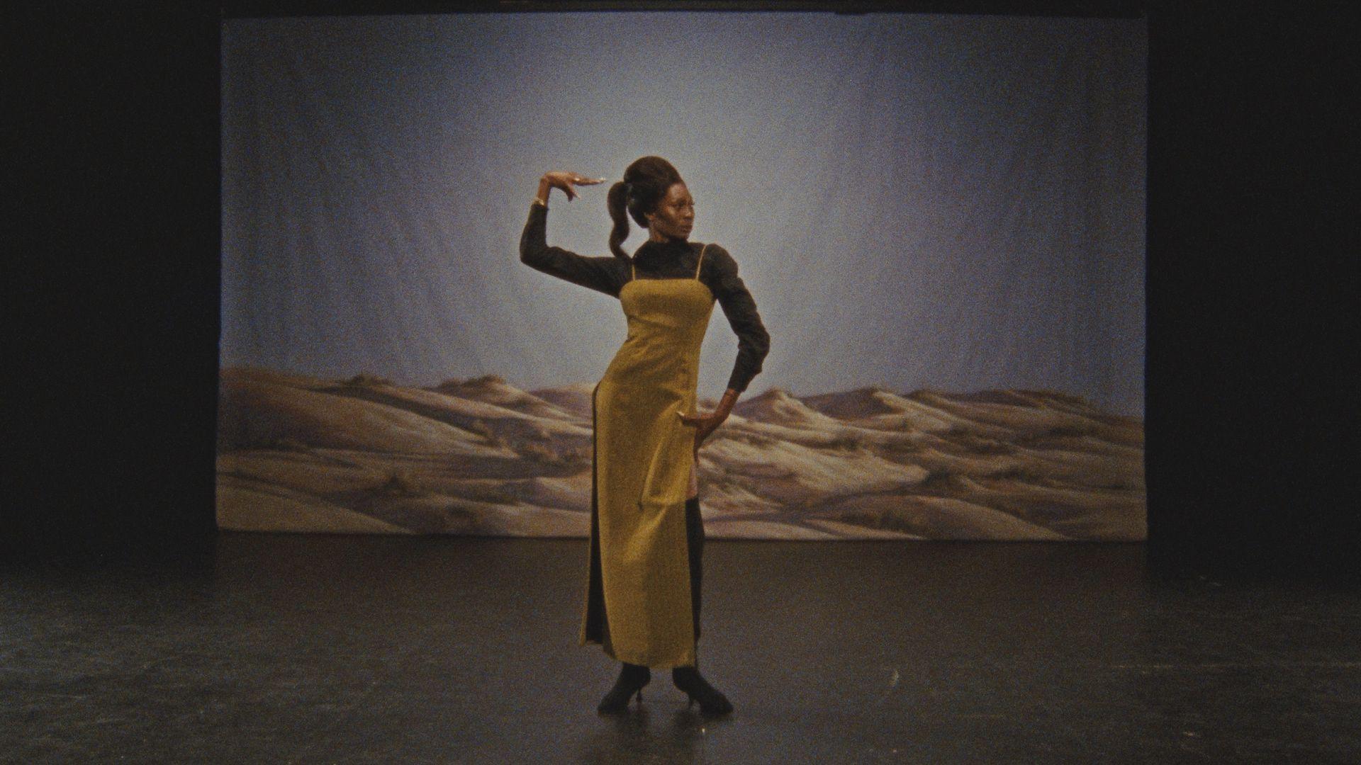 Dominique Jackson wearing Kenneth Ize Woolmark Prize look