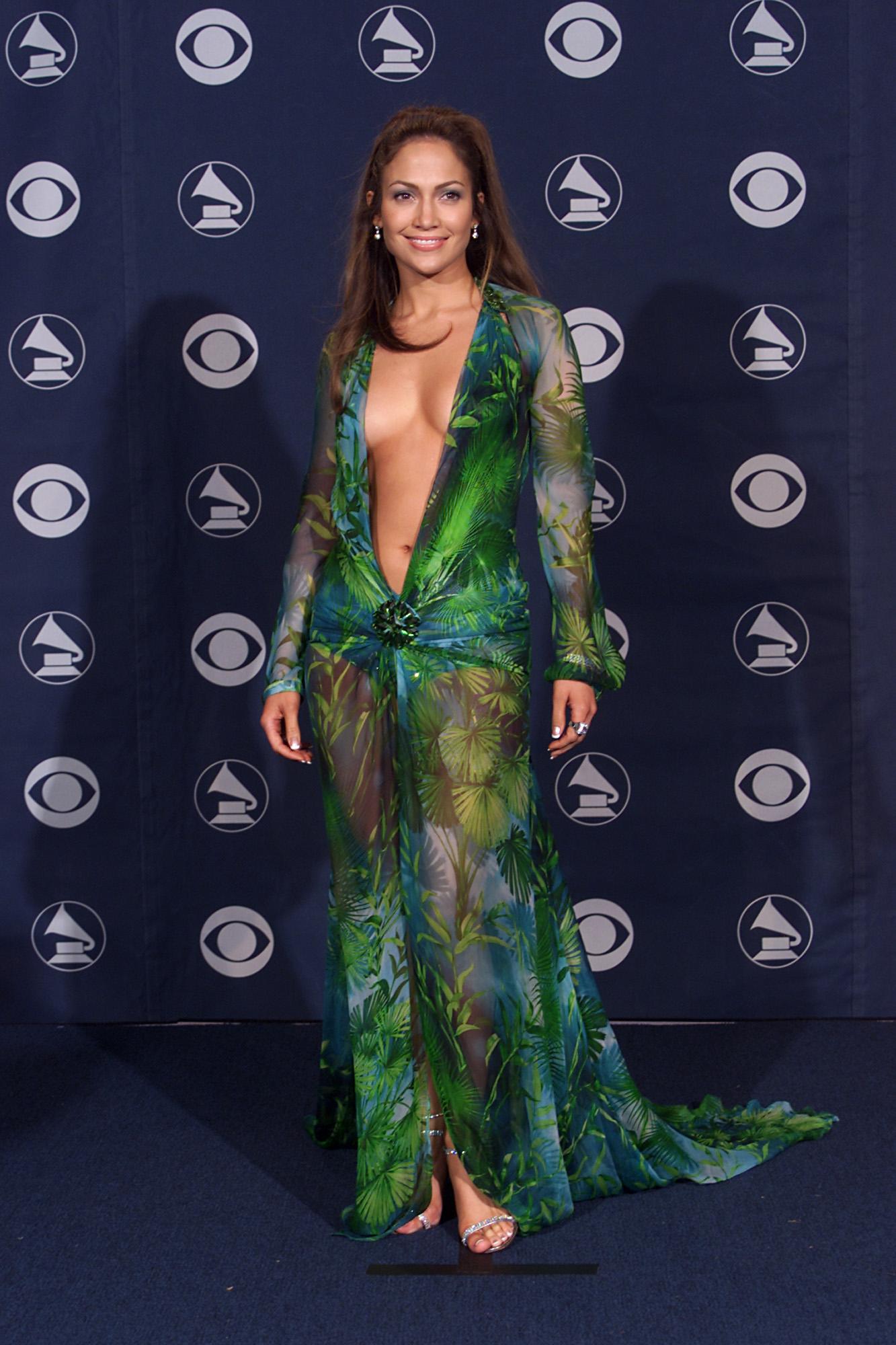 Jennifer Lopez in a Deep Green V Versace Dress