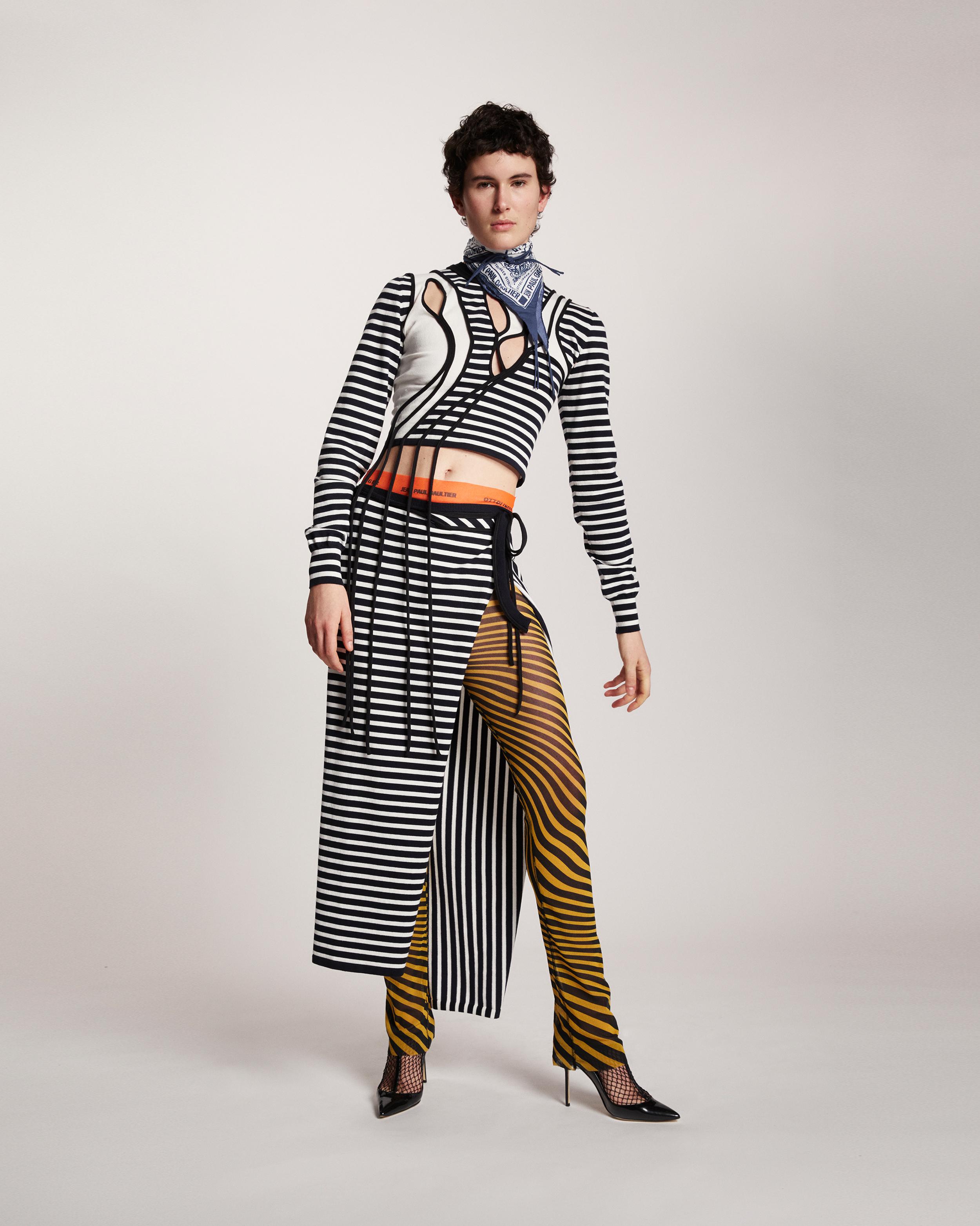 A model wearing a Ottolinger x Jean Paul Gaultier collab look
