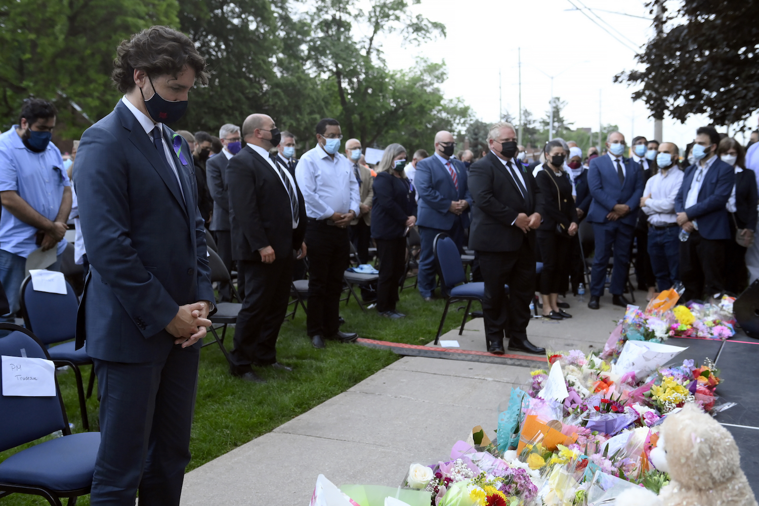 Prime Minister Justin Trudeau and Ontario Premier Doug Ford attend a vigil for the Afzaal-Salman family.