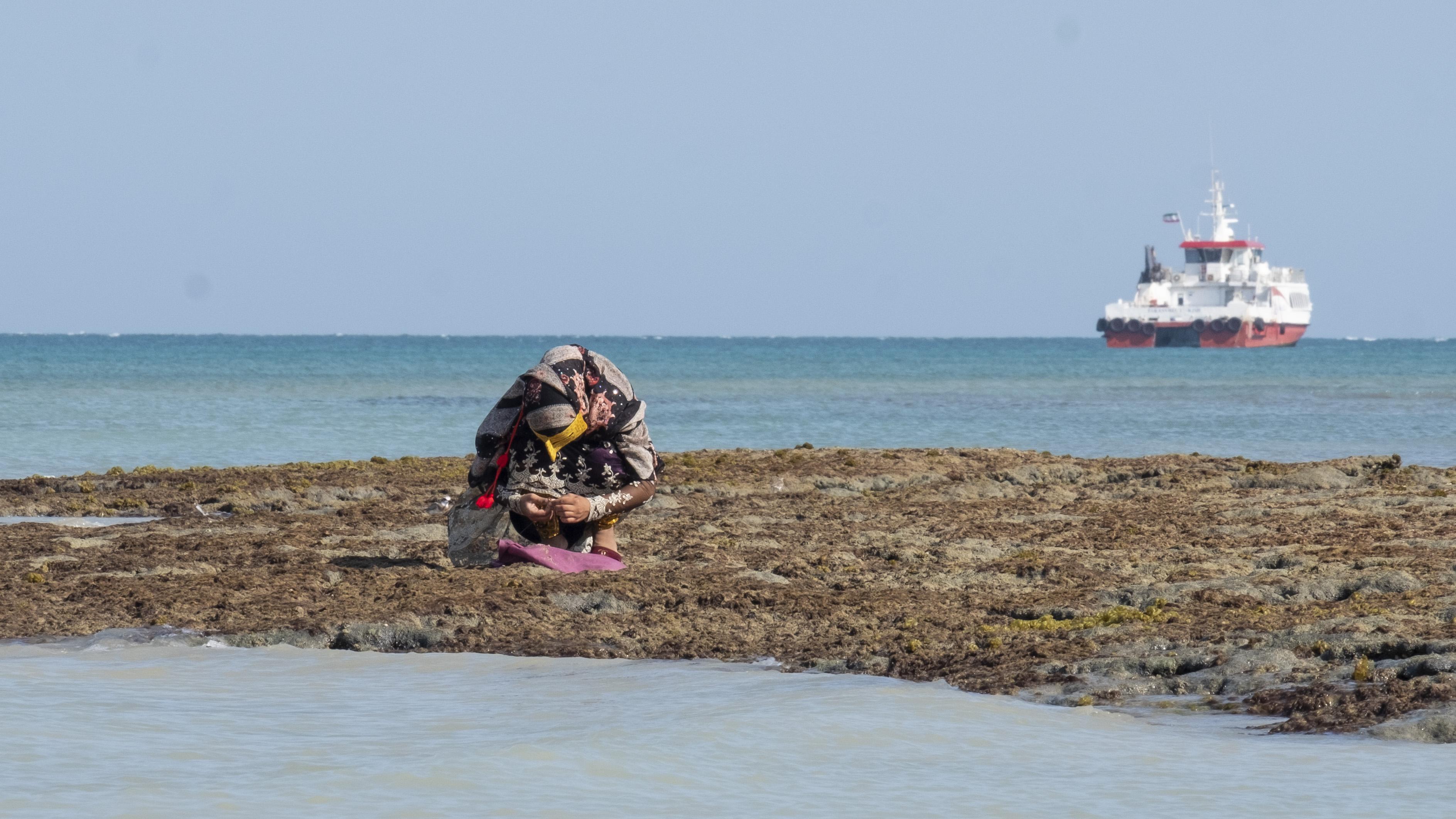 Perempuan yang tidak punya kapal dan alat pancing akan mencari ikan di tepi pantai.