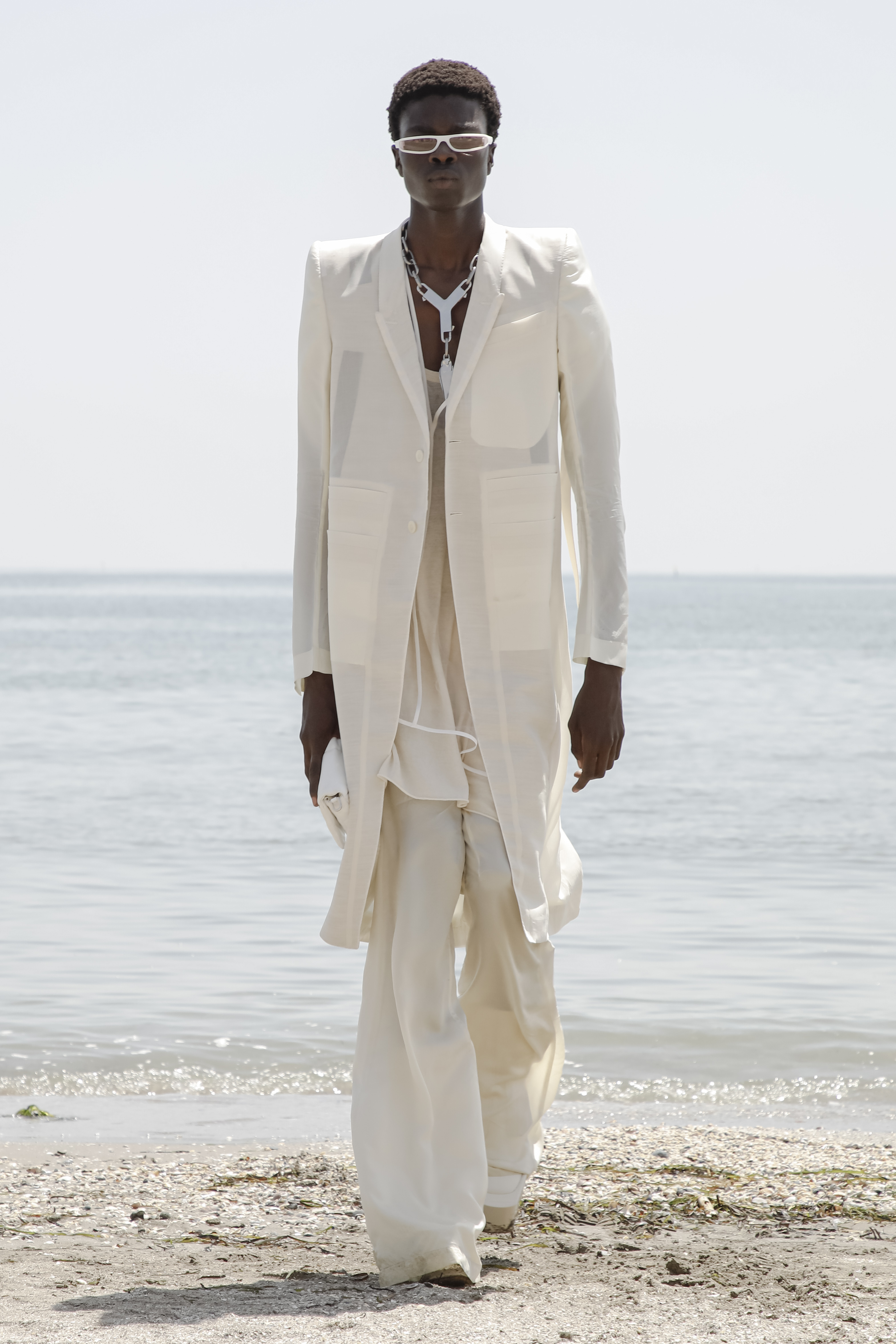 A model wearing a full look from Rick Owens' S22 collection