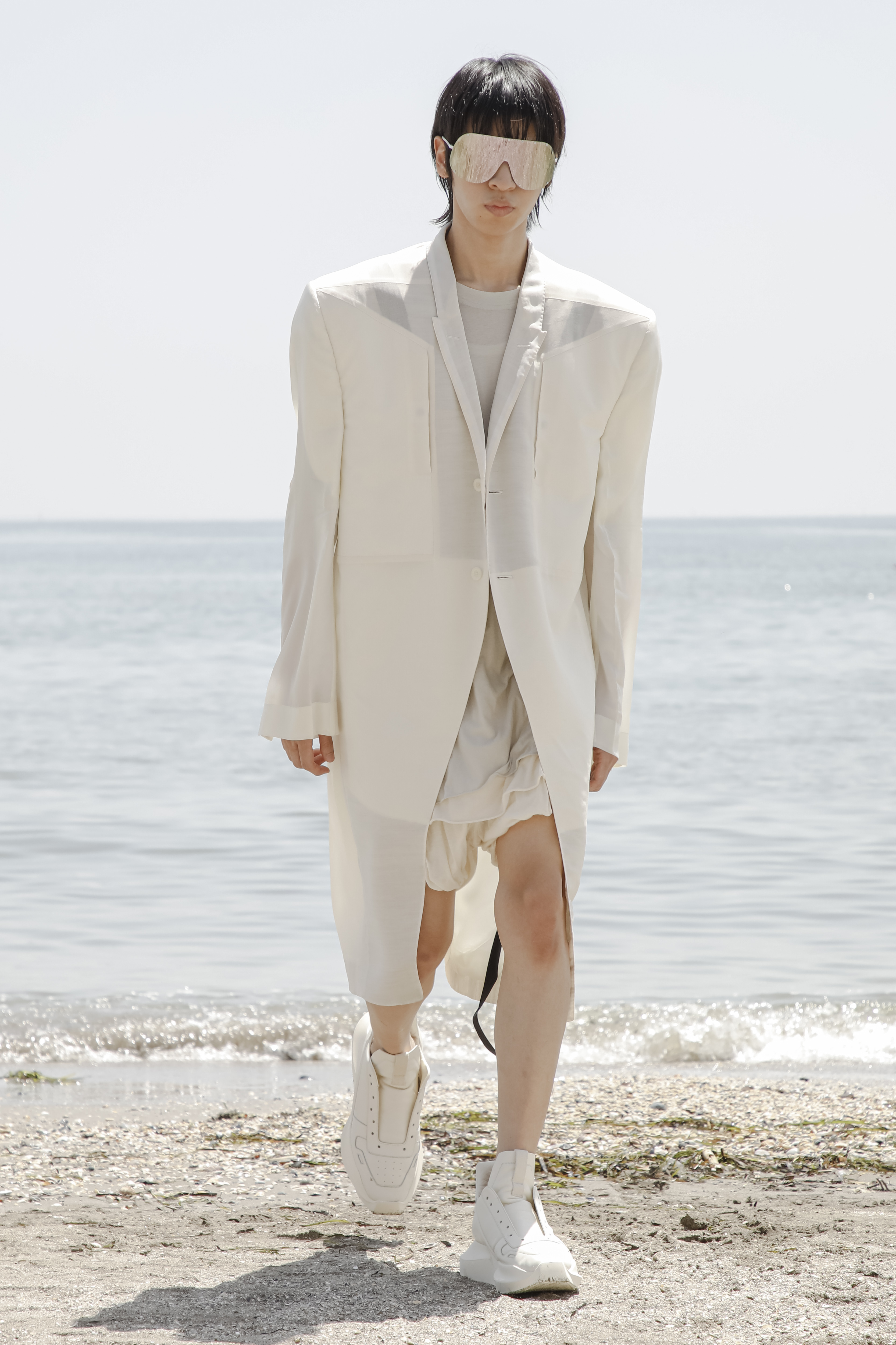 A model wearing a full look from the Rick Owens S22 collection