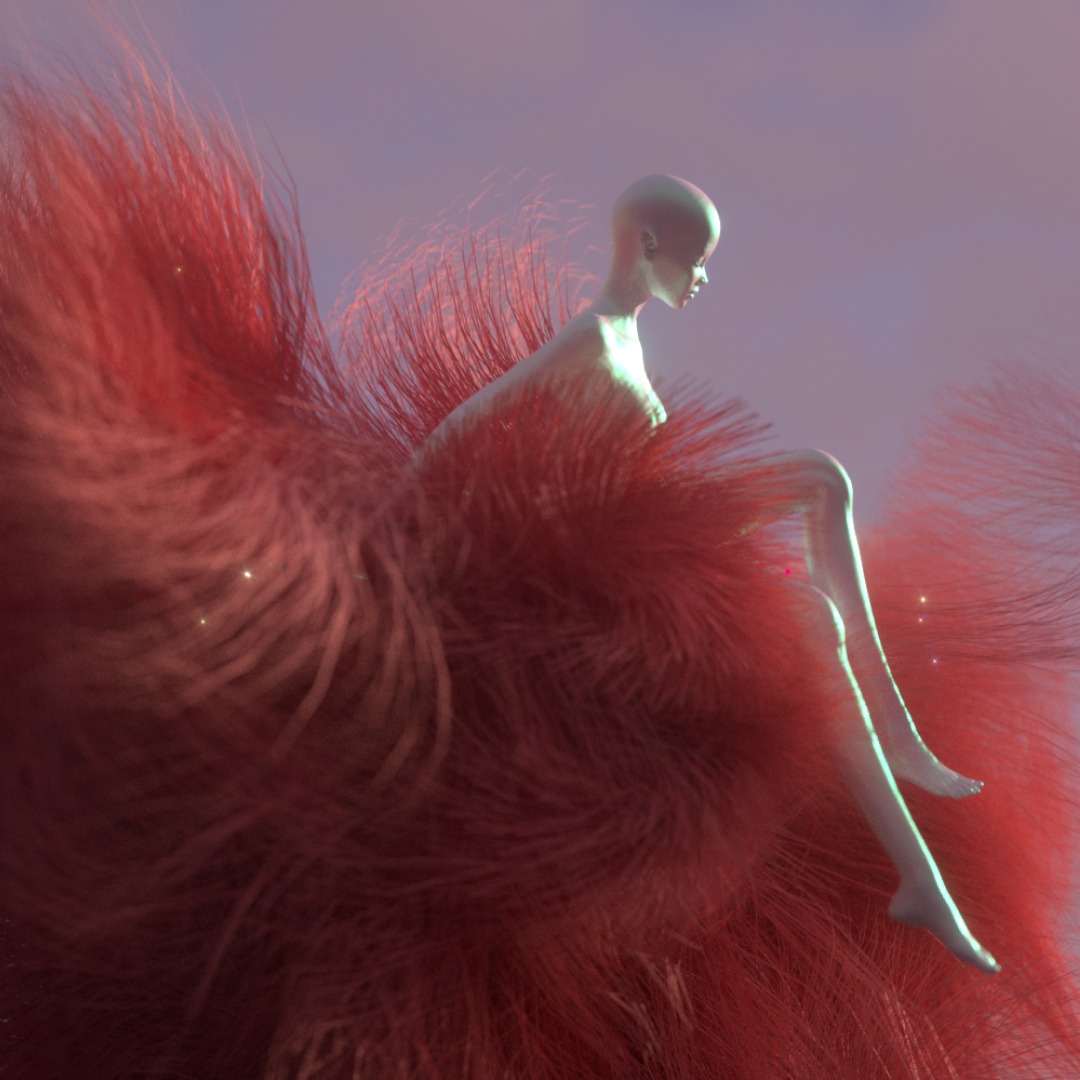 A soft red digitally rendered knit sculpture from Linxi Zhu's RCA MA Fashion graduate project