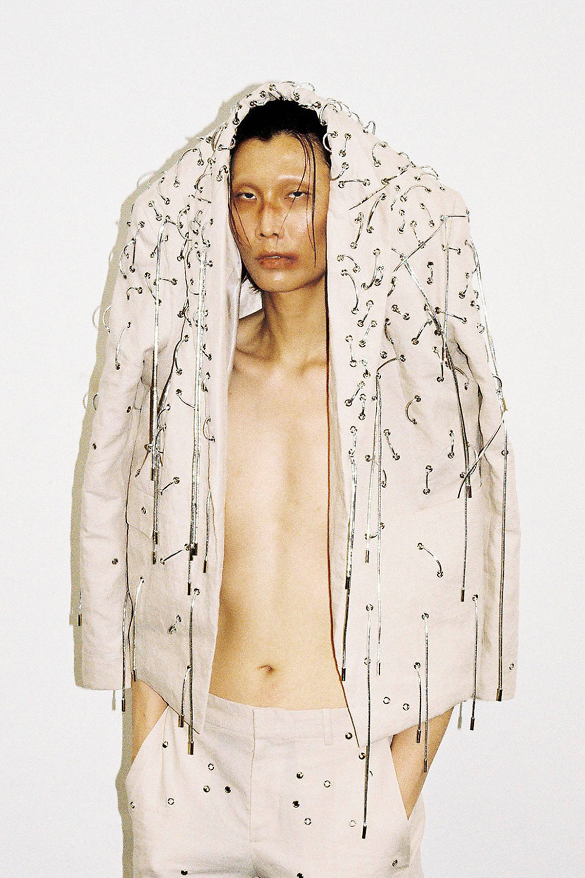 A model wearing a full look from Seungmin Koh's RCA MA graduate collection