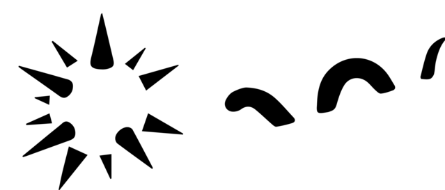 Two amodal completion illusions, one showing a spiky sphere; the other, a sea monster.