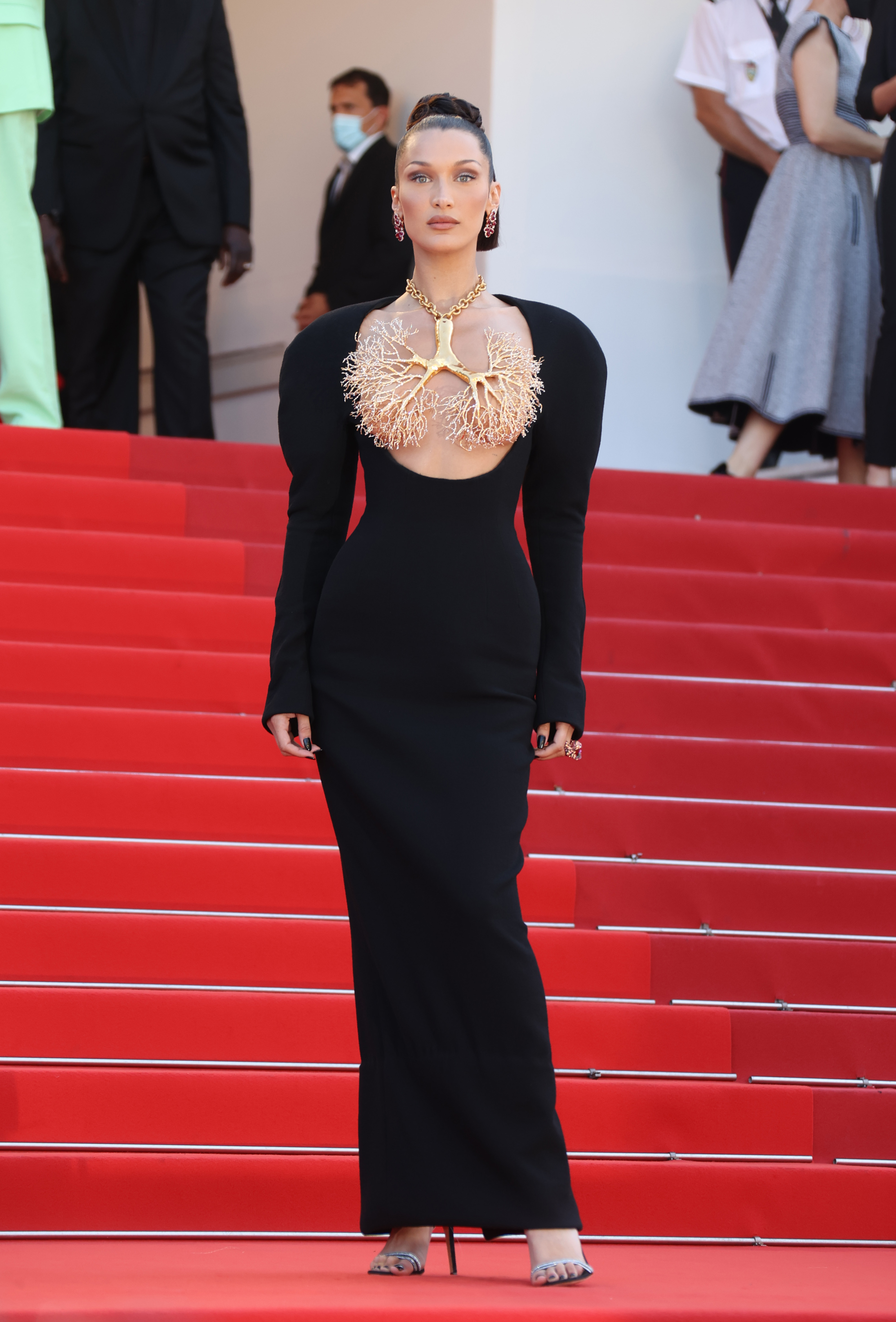 bella hadid wearing schiaparelli on the red carpet at cannes film festival 2021