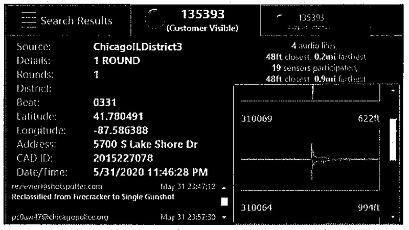 A screenshot of the ShotSpotter alert from 11:46 PM, May 31, 2020 showing that the sound was manually reclassified from a firecracker to a gunshot