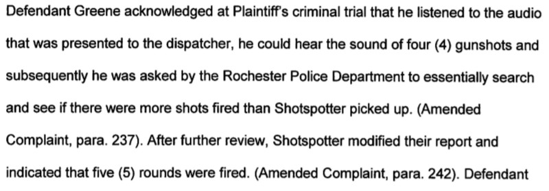 Excerpt from Silvon Simmons civil lawsuit against ShotSpotter and the Rochester Police Department.