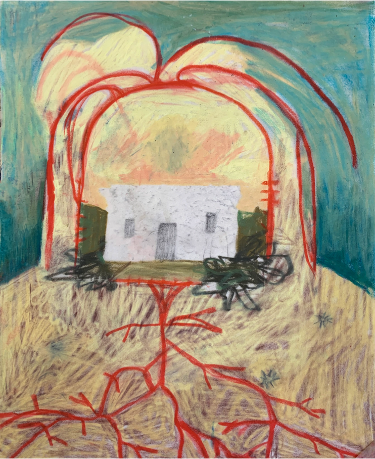 an abstract painting of a house with roots by amy bravo