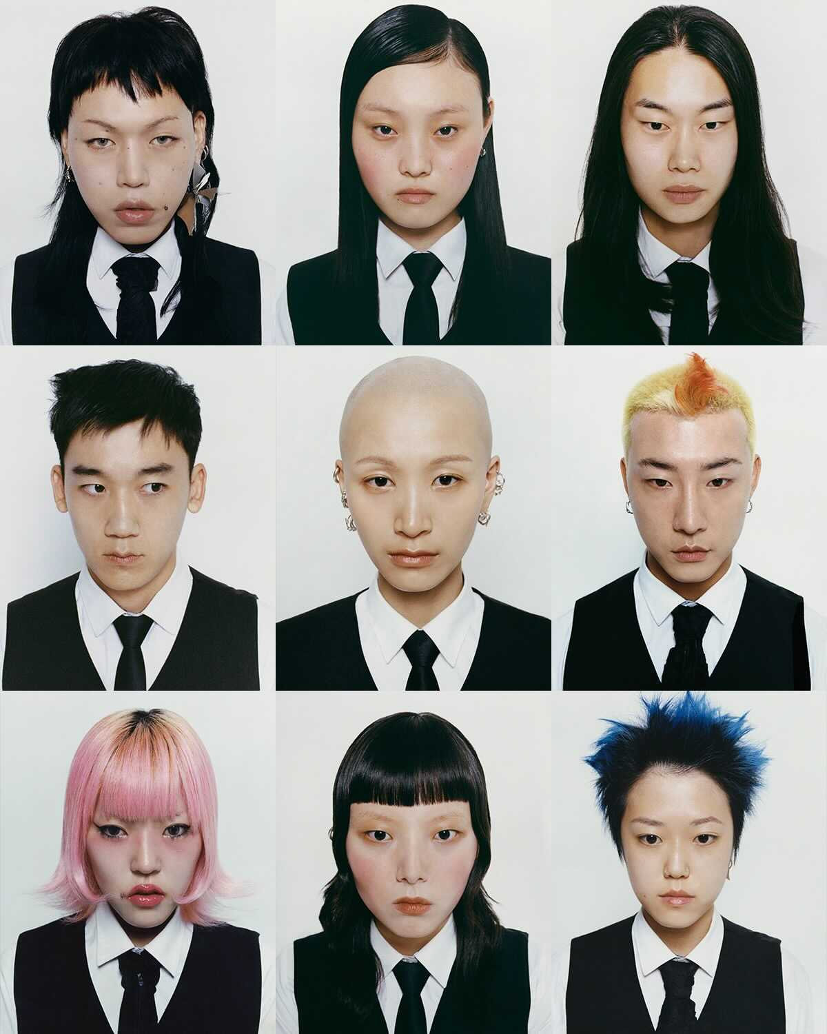 a collage of portraits of young korean creatives by photographer cho gi seok