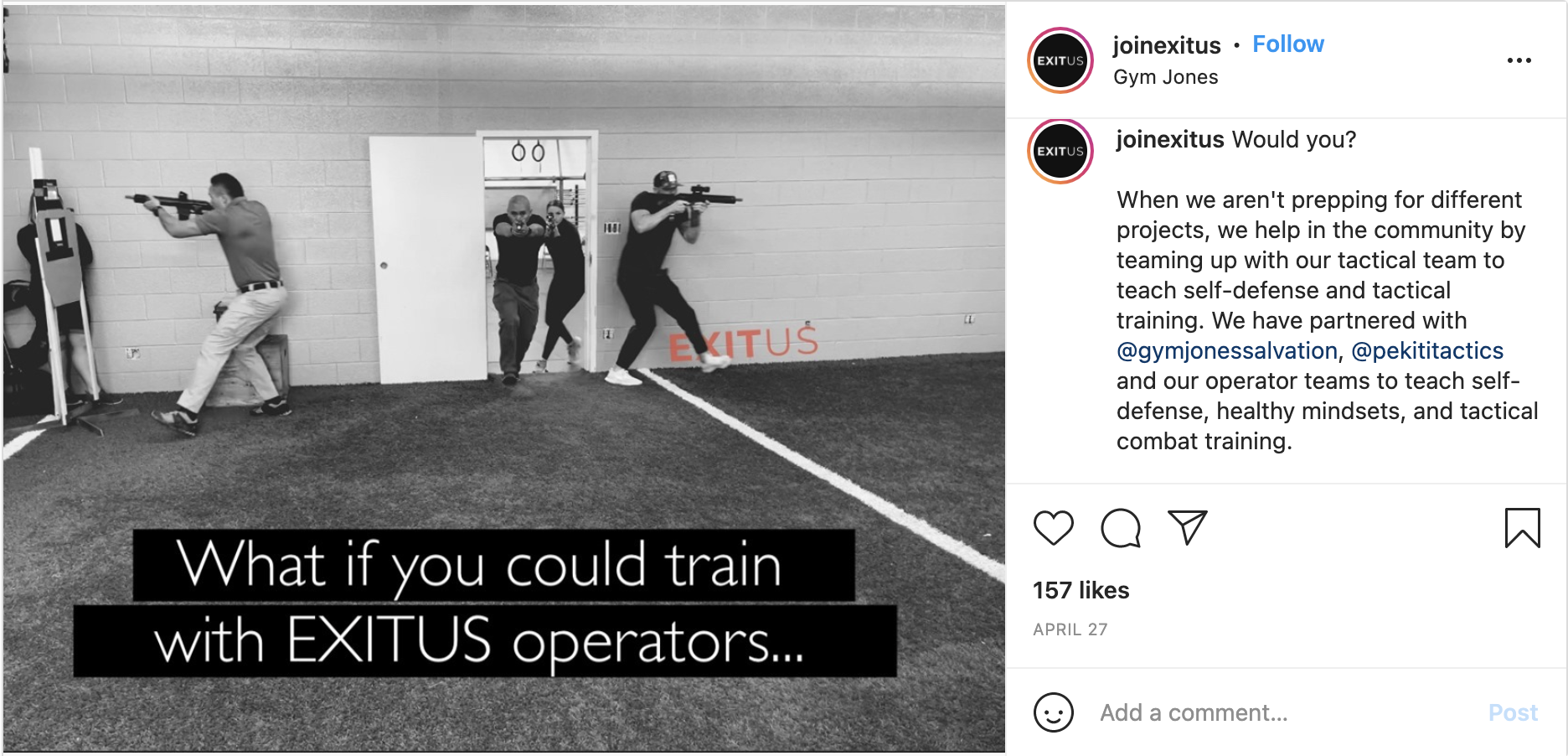Exitus offers a chance to train with its operators.