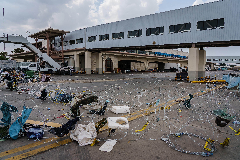 Kabul airport under Taliban control.
