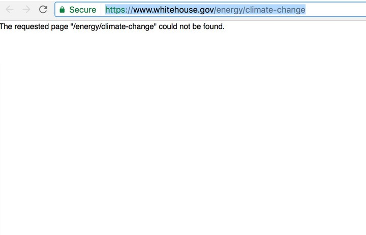 All References to Climate Change Have Been Deleted From the White House Website