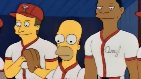 Homer and Darryl Strawberry in Homer at the bat Simpsons episode