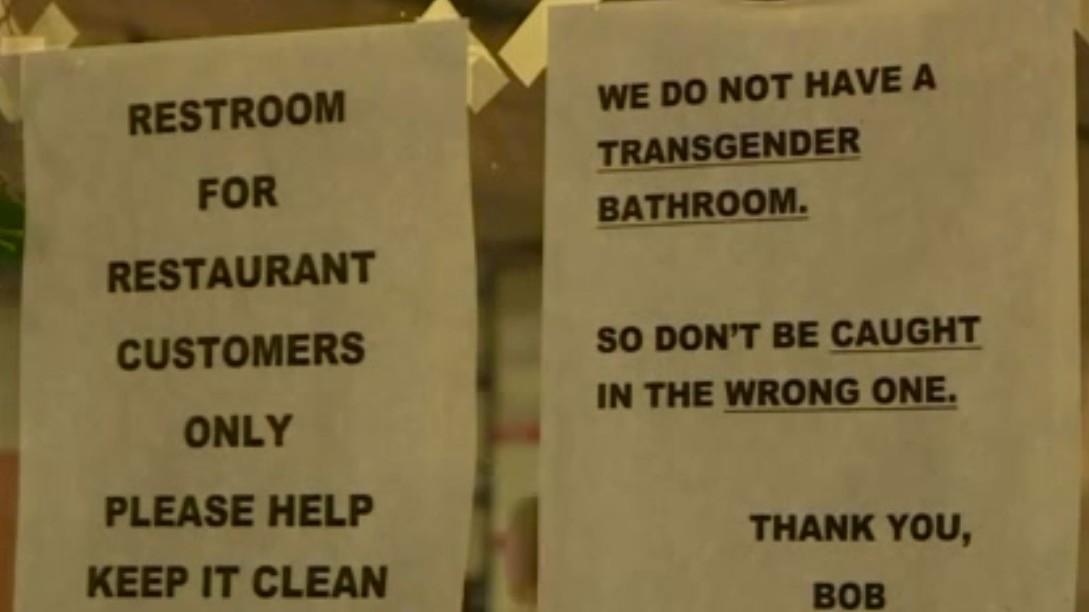 Bathroom Sign Guy restaurant's bathroom sign vaguely threatening to transgender