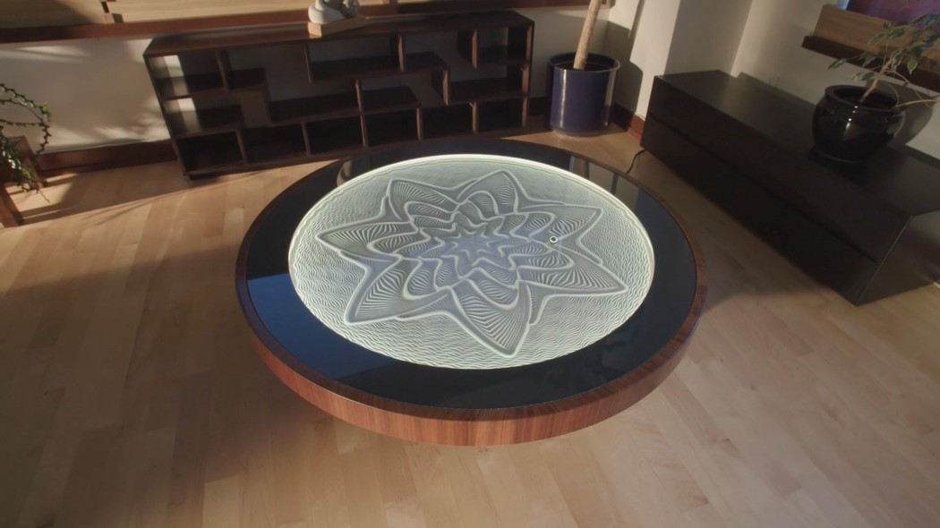 This Zen Coffee Table Creates Gorgeous Patterns Using Magnets And Sand Creators