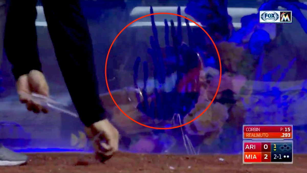 Foul tip cracks marlins home plate fish tank which exists for Marlins fish tank