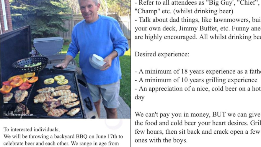 amazing craigslist ad seeks generic bbq dad to grill meat call