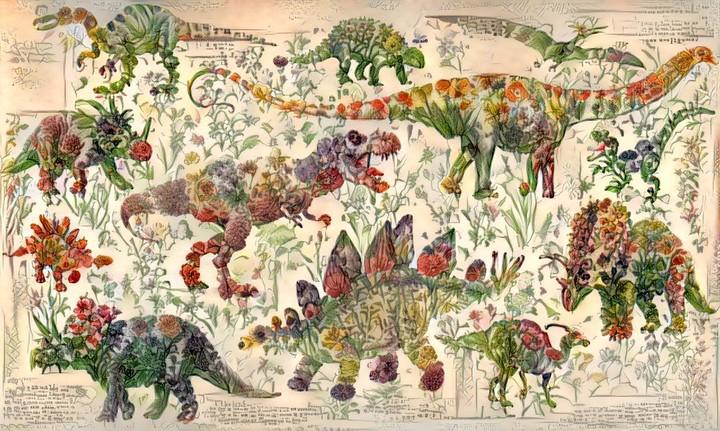 Questa rete neurale ha creato dei dinosauri fatti di fiori