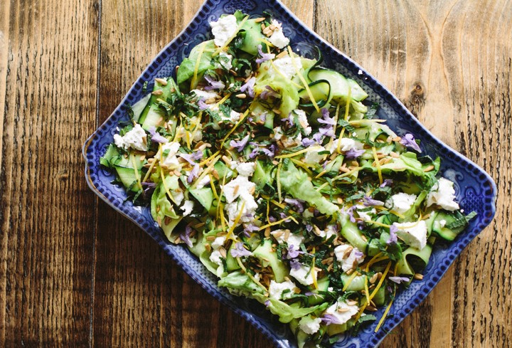 Butter Lettuce, Courgette, and Goat Cheese Salad