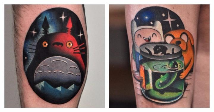 These Miyazaki and Adventure Time Tattoos Are Rainbow Magic