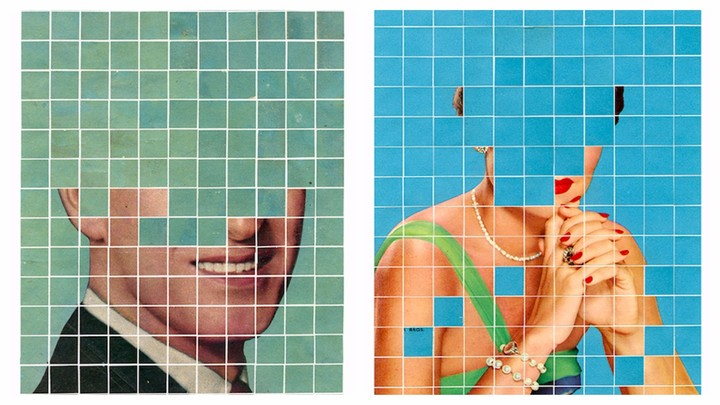 Stunning Collages Meld Vintage Glamour Shots with Colorful Pixels